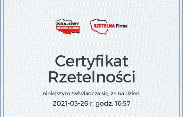 Otrzymaliśmy certyfikat Rzetelna Firma!