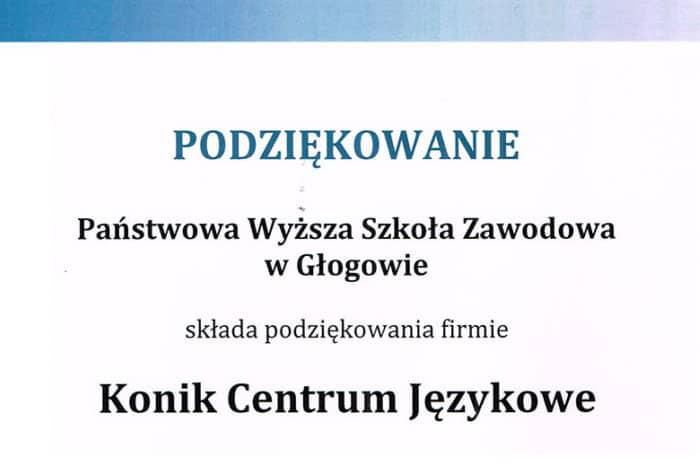 Podziękowanie od Państwowej Wyższej Szkoły wGłogowie