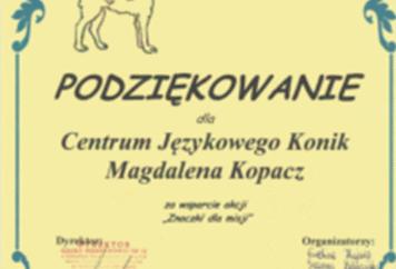 """Podziękowania od Szkoły Podstawowej nr 12 wGłogowie zawsparcie akcji"""" Znaczki dlamisji"""""""