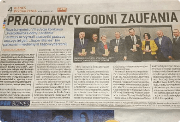 Reportaże prasowe zodbioru nagrody PGZ